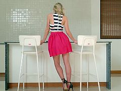 Candy is a blonde bombshell, who attracts a lot of attention no matter where she is. The best thing about her, is that she doesn't like to wear panties underneath her tiny skirt. Watch this lovely lady show off her pretty ass and a pussy to die for. She takes off her top and skirt, but leaves her heels on. She can't wait for some solo action.