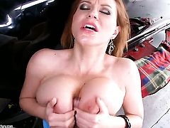 Mature Sara Stone is too horny to stop sucking her mans rock hard tool