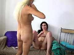 Young lesbian dance and suck with old lesbian mature