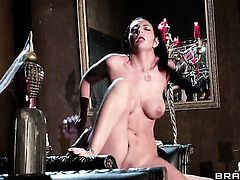 Johnny Sins stretches sex hungry Amber Coxs mouth with his rock hard snake to the limit