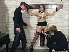 Two guys touch her hot pussy