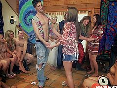 A babe with small tits joins the happy party in the chalet, after she puts eyes on a handsome guy. Click to watch them expressing their lust in front of everyone. The floor and the table in the kitchen seem the best places to do kinky activities, like eating Hope's pussy. Watch the horny lady sucking cock.