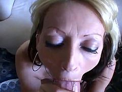 Blonde close to Tongue Piercing exposing Off Her mouthjob Skills