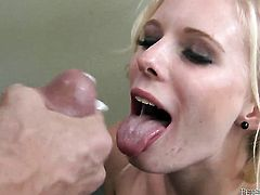 Elaina Raye does oral job for hot dude to enjoy