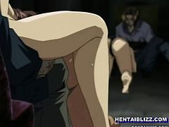 Roped redhead anime gets ass injection
