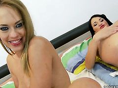 Blonde Polette and Blue Angel part their legs legs wide for each other and have lesbian fun