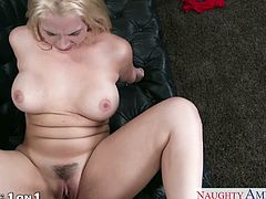 Big boobed blonde wife Sarah Vandella gives blowjob and fucks in POV style