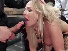 Rough sex is on busty Angel's list. Despite the name, this horny blonde-haired lady is a sinful bitch, who likes to play dirty with more men... See the gang applying her an unforgettable treatment. With no way out, she needs to suck every cock in the room, while getting her crazy ass fisted and fucked.