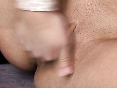 Sarah Peachez with tiny tities and shaved cunt is full of passion to masturbate with dildo