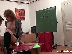 Horny french redhead hard anal fucked with cum to mouth