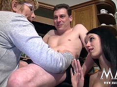 Meli Deluxe lets an older couple get have their way with her.