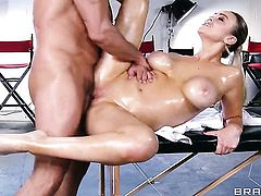 Toni Ribas shoots hos load after Abbey Brooks with gigantic boobs gives magic suck job