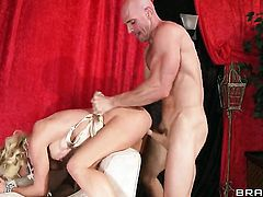 Cherie Deville with giant breasts offers her beaver to Johnny Sins