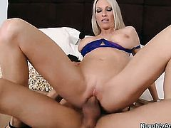 Emma Starr with big hooters spreads her legs to take Xander Corvuss stiff love wand in her muff