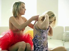 Slutty girls Ash and Dakota are two hot blondes, who love to play with each other when they can. Watch these two hot crackers spread and suck each other's warm pussies, as they give a crash course in lesbian fucking. These girls finger fuck and have a great time experimenting with pussies. They are not afraid to try and also stuff mouths with a dildo.