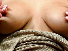 Dana Weyron with gigantic knockers and clean pussy cant live a day without toying her muff