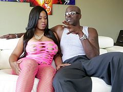 Black pornstar Aryana Adin chats with Lexington Steele