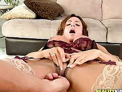 Brunette Ariella Ferrera with juicy knockers takes Chris Johnsons sausage in her beaver