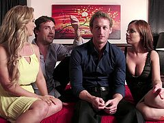 Two gorgoeus pornstarts giving interviews with their partners