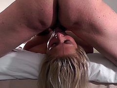 Candy love turns up at this guys hotel to give him a blowjob in return for some cash and leaves with her face and eyes plastered shut with huge cumshot
