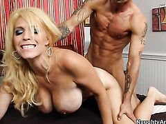 Charlee Chase with huge knockers and shaved cunt takes Alan Staffords dick in her love box