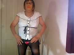 Dee in a pair of black tights and coloured knickers
