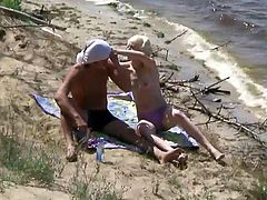 Skinny blonde fuck at the beach