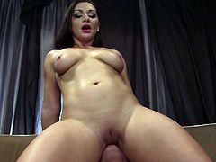 Hot cock sucking bitch gets her pussy fucked in the lounge