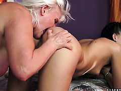 Blonde Judi fulfills her sexual needs and desires with Lyen Parkers tongue in her in her pussy