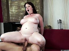 Brunette with gigantic melons shows her snatch to lucky stud before he fucks her snatch