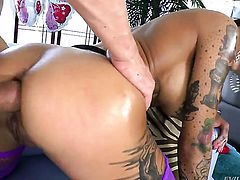 Bonnie Rotten moans while sucking Will Powerss ram rod harder and harder after ass fucking