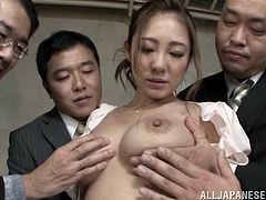 It was a real joyride for this slutty Japanese babe, as she got so many dicks around her to play. As they all enjoyed playing with her nice hairy pussy and squeeze her fine big tits with please, Minori knelt among them and sucked their hard cocks. Let's see how hard they fucked her!