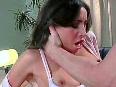 Stephani and johnny sins in a sex scene. She is wearing slutty black stockings and also has a lovely pair of tits. Johnny likes this and decides to nail her on the floor.