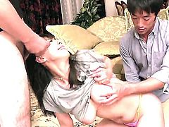 Nasty Japanese milf Ryoko Murakami in barely there bra gets her big natural tits covered in sticky jizz after cock sucking. Watch her milk  cocks like theres no tomorrow.