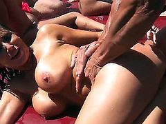 What a lovely orgy that consists of some of the Brazzers finest, Ava, Phoenix, Romi, Tory and Niki. They enjoy taking and sharing big dicks at the poolside from some good looking studs.