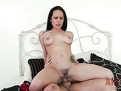 Brunette hooker Katie St Ives with clean muff is a slut who wants cum on face over and over again