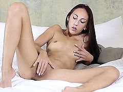 Pretty girl El Storm with long legs and small boobs is completely naked on the bed and spends time playing with her neat pink pussy. She can keep her beautiful fingers off her wet twat.