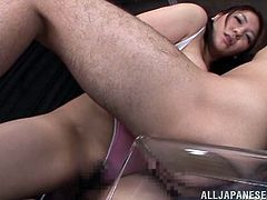busty japanese lady playing with a cock in pov