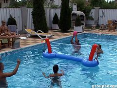 Pool party with some hot biki babes becomes an orgy