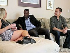 Slutty Abbey does not lose any time, as the blonde-haired milf is really versed and, when she wants something, nothing can stop her from obtaining pleasure and fun! See the busty bitch having her way with a black guy, whose big cock seems to impress her a lot. So, she bends over and passionately sucks dick.