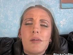 Skinny and pale brunette Hailey Young blows super long fat black dick