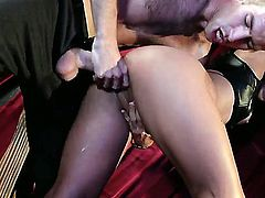 Lana Violet is one masochist bitch who will let herself be tied down, whipped and fucked like a real slutty whore that she is. In pain she finds her pleasure.