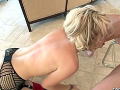 Slutty blond haired chick in hot stockings gives solid blowjob to her brutal guy