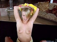 Lovely blonde girl with pigtails pleases her guy with cute handjob