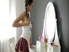 Russian teenager girl has bought sexy lingerie.