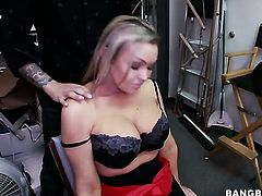 Huge tits blonde in the back room