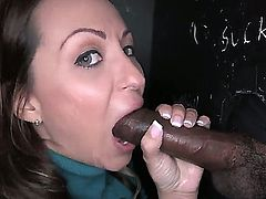 Vanessa Luna gives interracial gloryhole blowjob