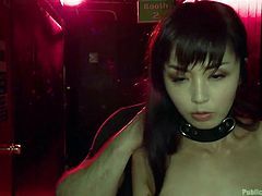 Have you got thrilling fantasies with slutty babes, that get disgraced or humiliated in public? Click to see a naked Asian bitch with small lovely tits, obeying a dominant guy, who uses her without any mercy. She wears a collar at her neck and is persuaded into sucking cock. Enjoy the kinky details!