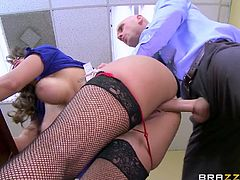 Casside is a business woman, who knows exactly, how to get what she wants. For the moment, all she desires is a hard dick, stuffed in her naughty pussy. She wears kinky stockings and glasses, and proudly reveals her amazing tits. Click to watch this bitch pounded from behind!