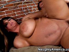 Indianna Jaymes with huge jugs cant live a day without getting fucked by horny dude Chad Alva